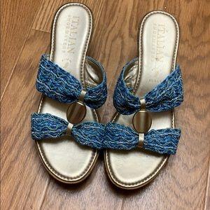 Italian shoemaker blue and gold wedge